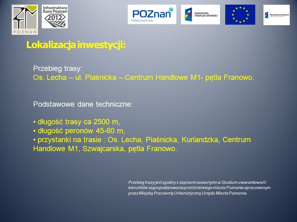 Lokalizacja inwestycji: Przebieg trasy: Os. Lecha – ul. Piaśnicka – Centrum Handlowe M1- pętla Franowo. Podstawowe dane techniczne: długość trasy ca 2
