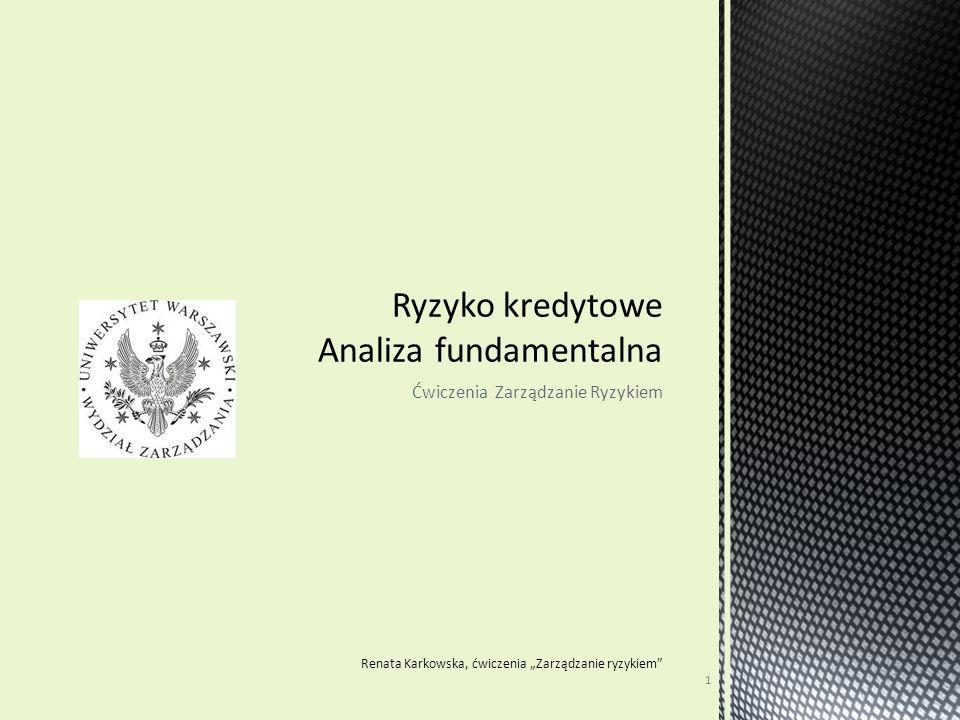 """Ćwiczenia Zarządzanie Ryzykiem Renata Karkowska, ćwiczenia """"Zarządzanie ryzykiem"""" 1"""