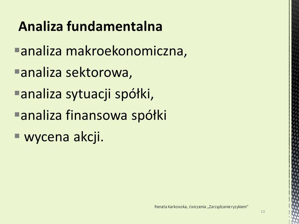  analiza makroekonomiczna,  analiza sektorowa,  analiza sytuacji spółki,  analiza finansowa spółki  wycena akcji. 10 Renata Karkowska, ćwiczenia
