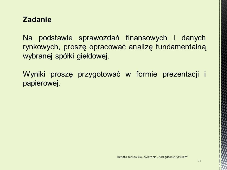 """21 Renata Karkowska, ćwiczenia """"Zarządzanie ryzykiem"""" Zadanie Na podstawie sprawozdań finansowych i danych rynkowych, proszę opracować analizę fundame"""