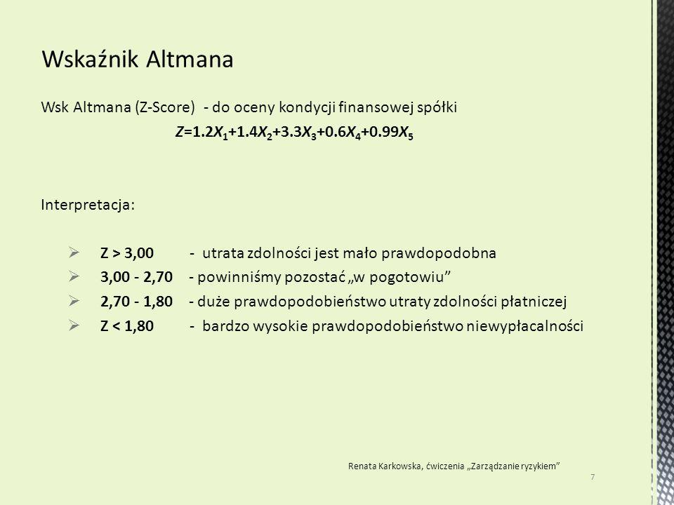 """Wsk Altmana (Z-Score) - do oceny kondycji finansowej spółki Z=1.2X 1 +1.4X 2 +3.3X 3 +0.6X 4 +0.99X 5 Interpretacja:  Z > 3,00 - utrata zdolności jest mało prawdopodobna  3,00 - 2,70 - powinniśmy pozostać """"w pogotowiu  2,70 - 1,80 - duże prawdopodobieństwo utraty zdolności płatniczej  Z < 1,80 - bardzo wysokie prawdopodobieństwo niewypłacalności 7 Renata Karkowska, ćwiczenia """"Zarządzanie ryzykiem"""