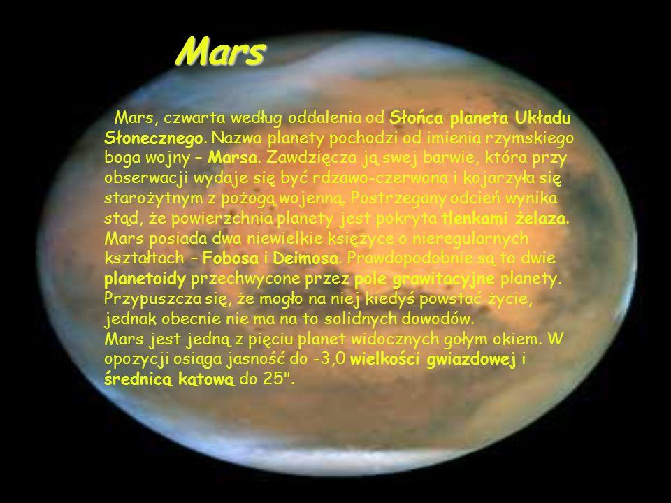 Mars, czwarta według oddalenia od Słońca planeta Układu Słonecznego.
