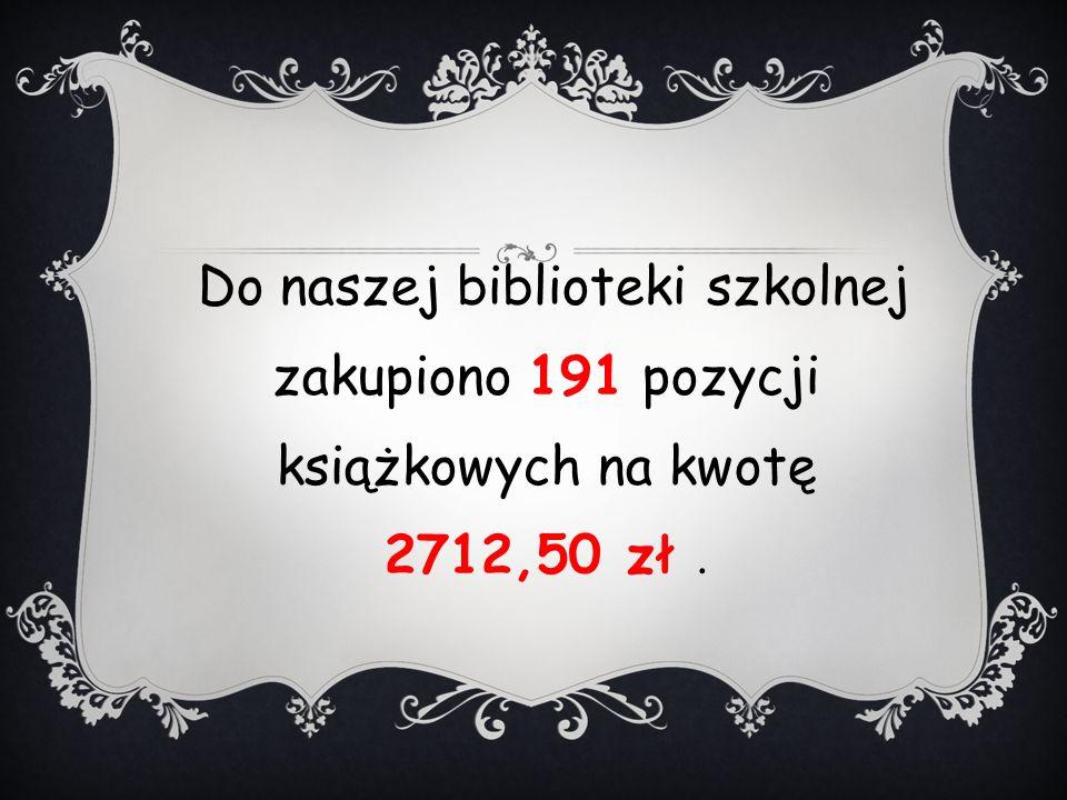 Do naszej biblioteki szkolnej zakupiono 191 pozycji książkowych na kwotę 2712,50 zł.