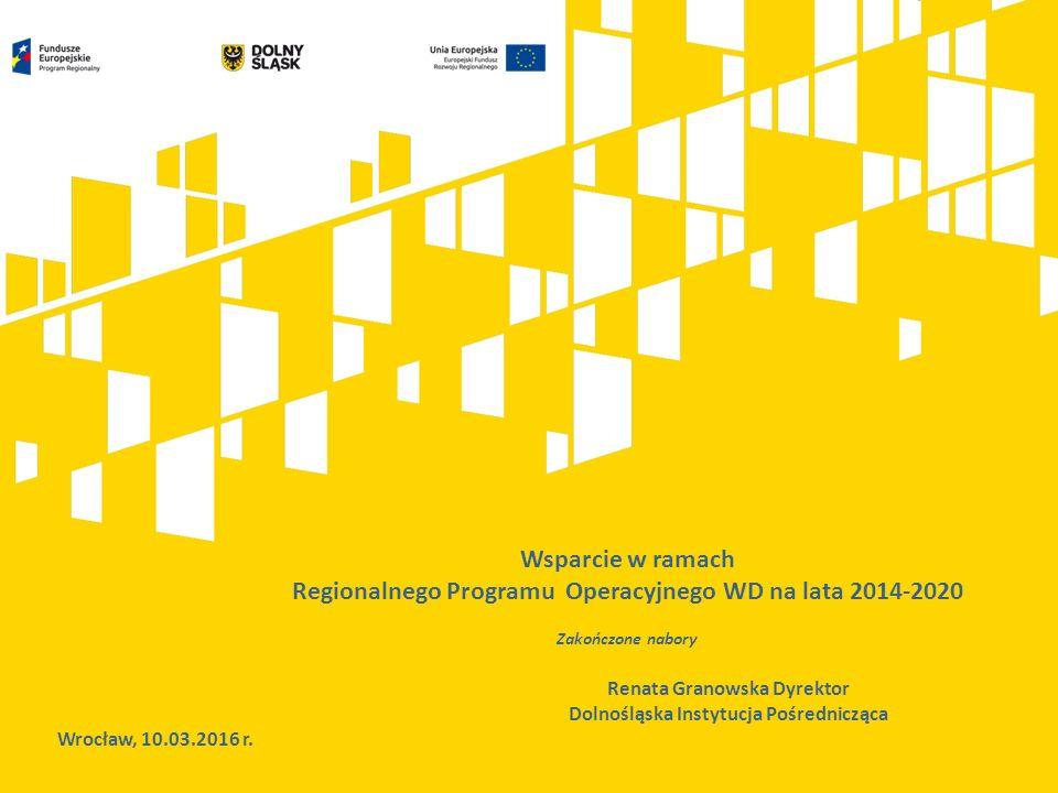 Wsparcie w ramach Regionalnego Programu Operacyjnego WD na lata 2014-2020 Zakończone nabory Wrocław, 10.03.2016 r.