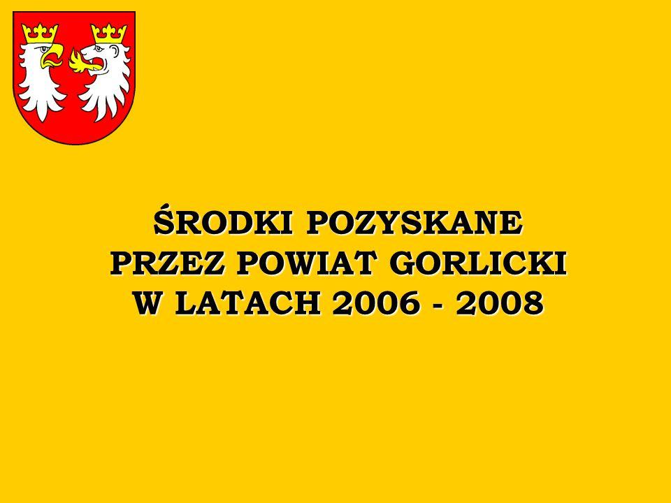 ŚRODKI POZYSKANE PRZEZ POWIAT GORLICKI W LATACH 2006 - 2008