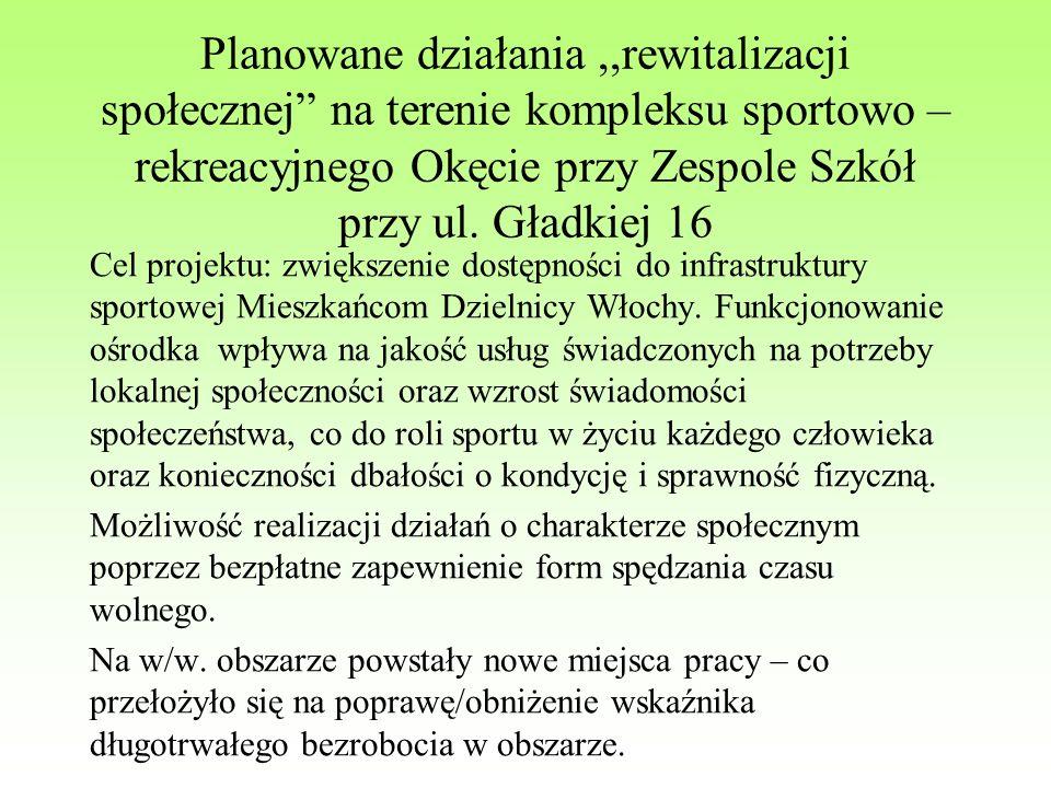 Planowane działania,,rewitalizacji społecznej na terenie kompleksu sportowo – rekreacyjnego Okęcie przy Zespole Szkół przy ul.