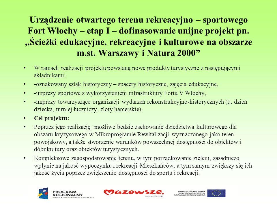 Urządzenie otwartego terenu rekreacyjno – sportowego Fort Włochy – etap I – dofinasowanie unijne projekt pn.,,Ścieżki edukacyjne, rekreacyjne i kultur