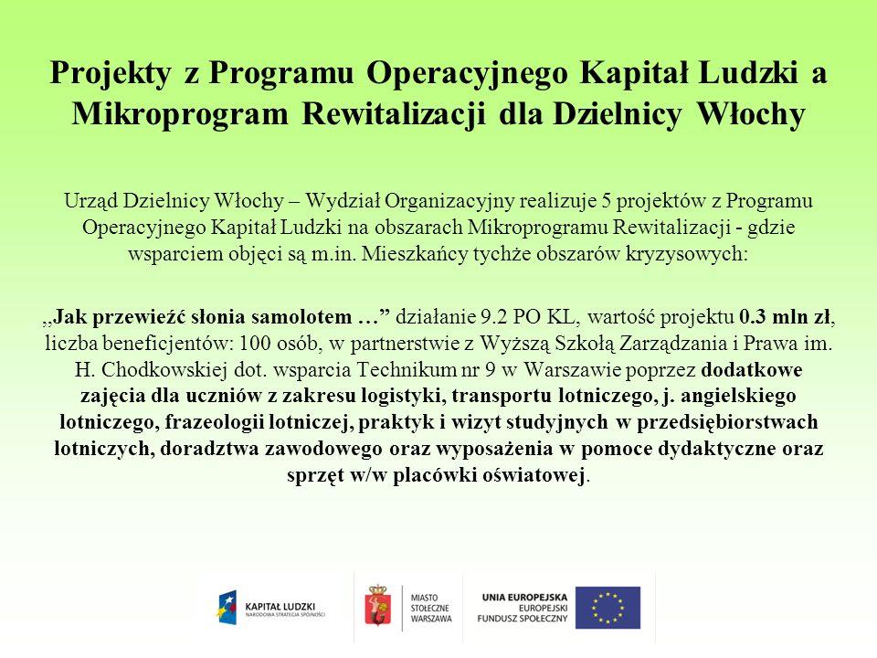 Projekty z Programu Operacyjnego Kapitał Ludzki a Mikroprogram Rewitalizacji dla Dzielnicy Włochy Urząd Dzielnicy Włochy – Wydział Organizacyjny realizuje 5 projektów z Programu Operacyjnego Kapitał Ludzki na obszarach Mikroprogramu Rewitalizacji - gdzie wsparciem objęci są m.in.