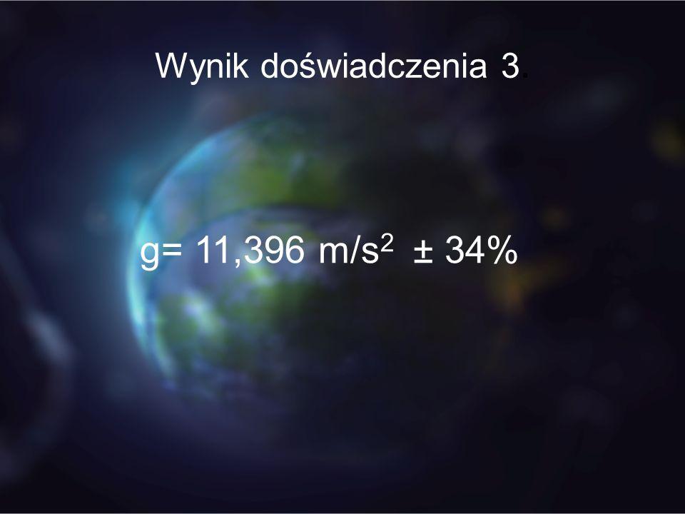 Wynik doświadczenia 3. g= 11,396 m/s 2 ± 34%