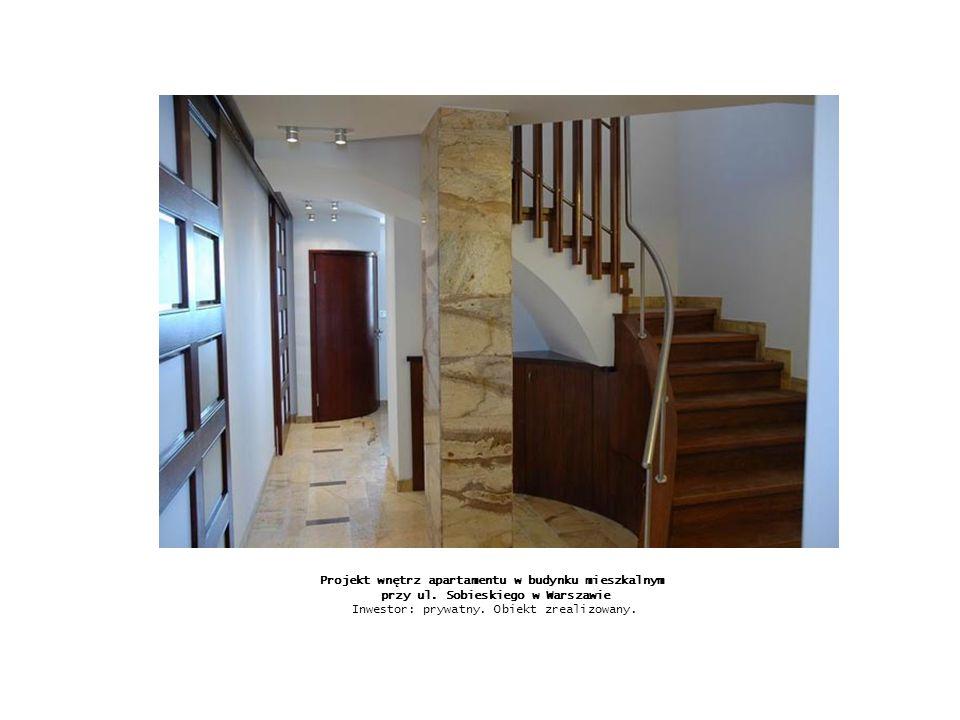 Projekt wnętrz apartamentu w budynku mieszkalnym przy ul. Sobieskiego w Warszawie Inwestor: prywatny. Obiekt zrealizowany.