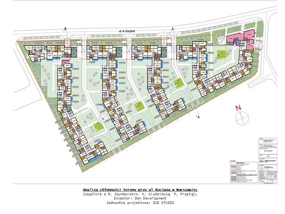 Analiza chłonności terenu przy ul Kocjana w Warszawie; (Wspólnie z R. Szymborskim, K. Siudzińską, P. Piętką); Inwestor: Dom Development Jednostka proj