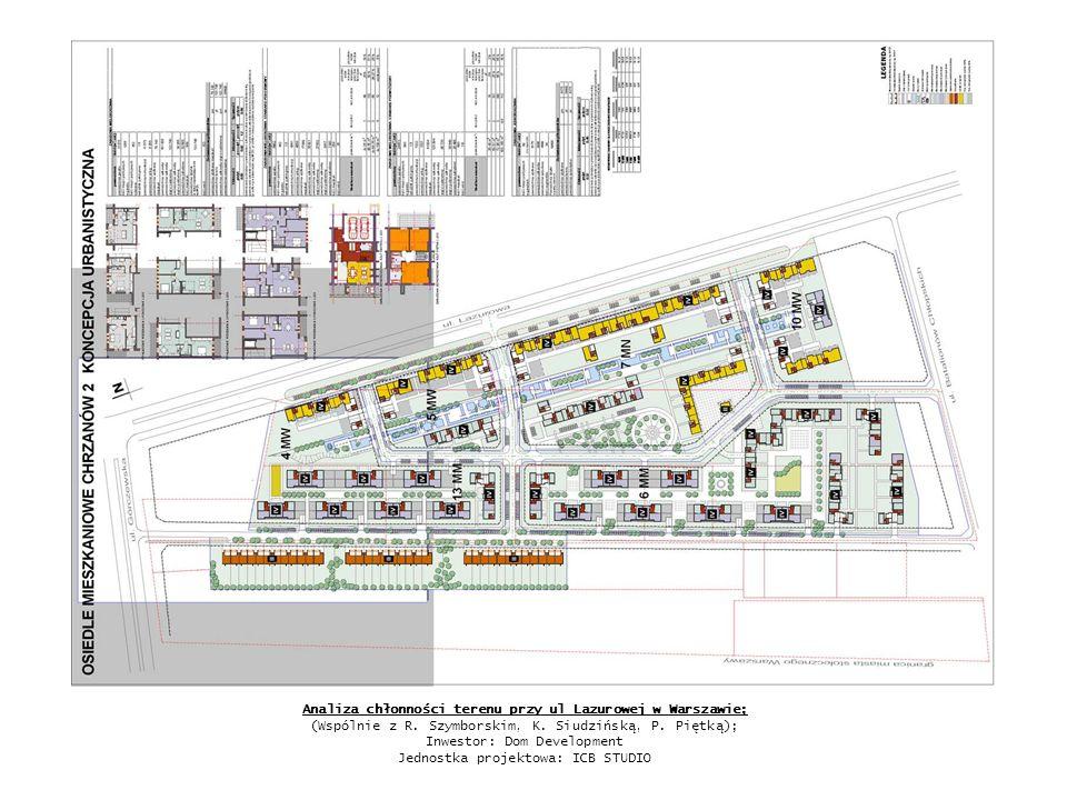 Analiza chłonności terenu przy ul Lazurowej w Warszawie; (Wspólnie z R. Szymborskim, K. Siudzińską, P. Piętką); Inwestor: Dom Development Jednostka pr