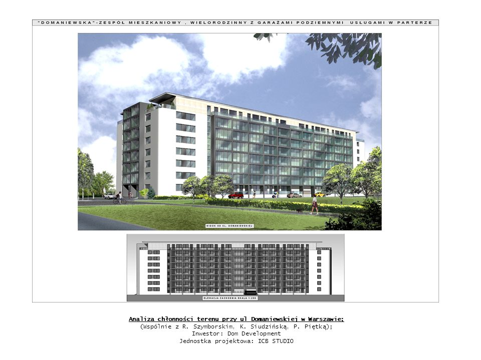 Analiza chłonności terenu przy ul Domaniewskiej w Warszawie; (Wspólnie z R. Szymborskim, K. Siudzińską, P. Piętką); Inwestor: Dom Development Jednostk