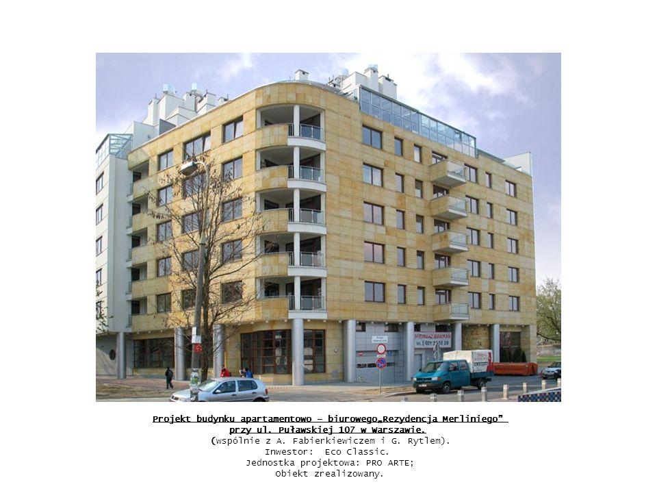 Projekt modernizacji i adaptacji wnętrz budynku apartamentowego na biurowy w Zespole Rezydencji Belweder w Warszawie (Wspólnie z R.