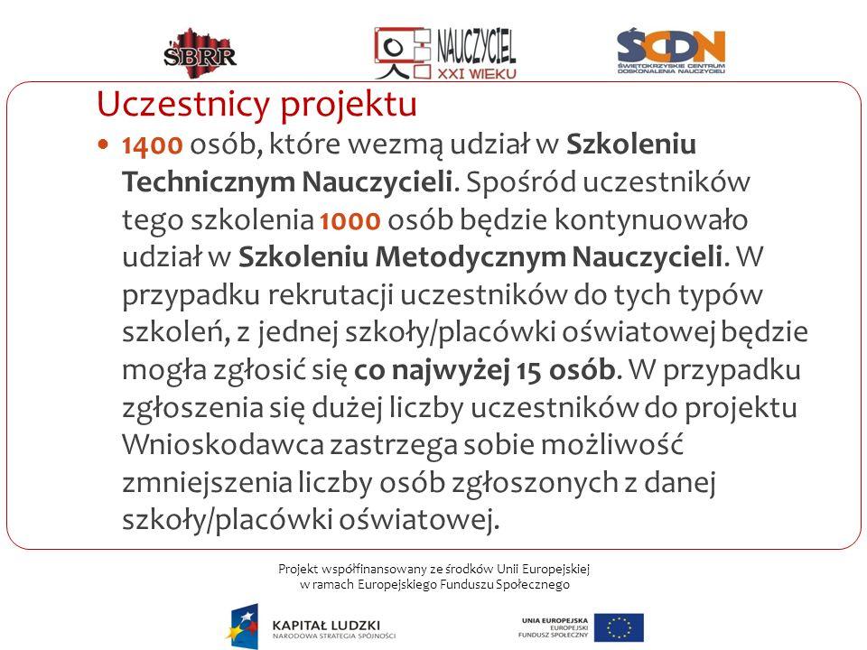 Projekt współfinansowany ze środków Unii Europejskiej w ramach Europejskiego Funduszu Społecznego Uczestnicy projektu 1400 osób, które wezmą udział w