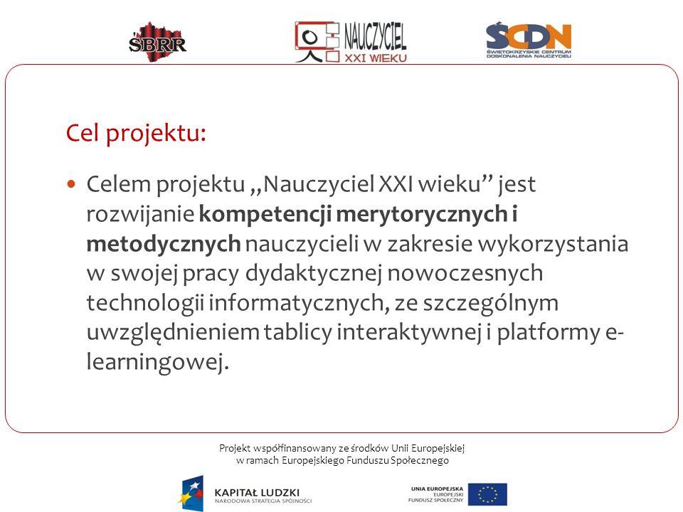 """Projekt współfinansowany ze środków Unii Europejskiej w ramach Europejskiego Funduszu Społecznego Cel projektu: Celem projektu """"Nauczyciel XXI wieku"""""""