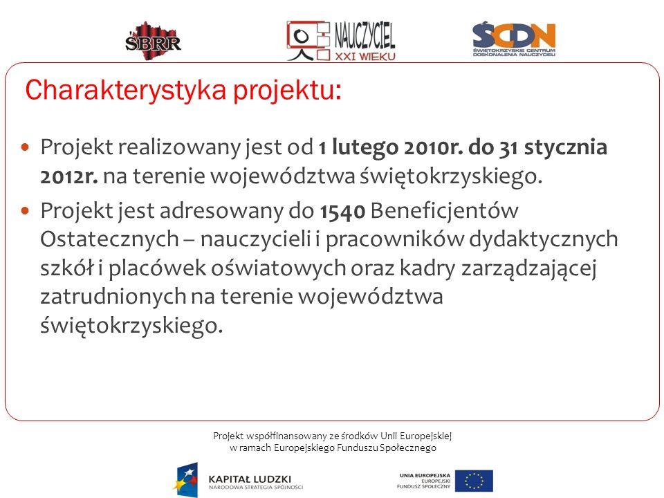 Projekt współfinansowany ze środków Unii Europejskiej w ramach Europejskiego Funduszu Społecznego Charakterystyka projektu: Projekt realizowany jest o