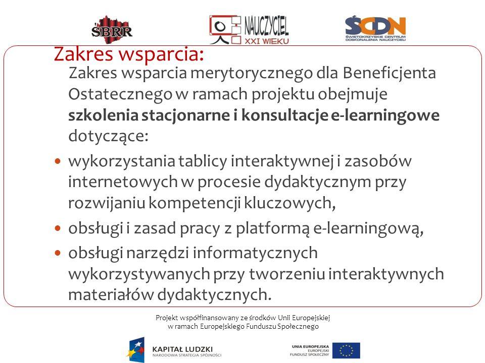 Projekt współfinansowany ze środków Unii Europejskiej w ramach Europejskiego Funduszu Społecznego Zakres wsparcia: Zakres wsparcia merytorycznego dla