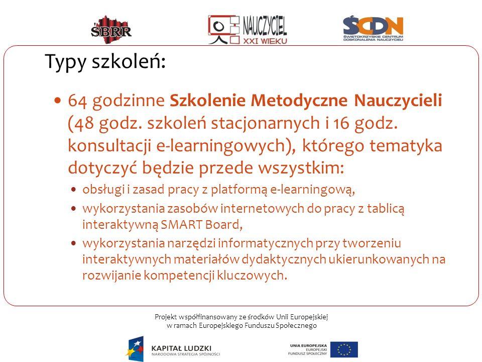 Projekt współfinansowany ze środków Unii Europejskiej w ramach Europejskiego Funduszu Społecznego Typy szkoleń: 64 godzinne Szkolenie Metodyczne Naucz