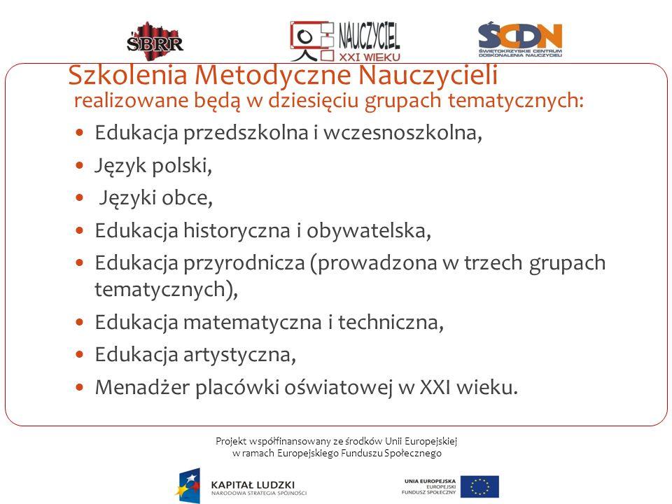 Projekt współfinansowany ze środków Unii Europejskiej w ramach Europejskiego Funduszu Społecznego Szkolenia Metodyczne Nauczycieli realizowane będą w