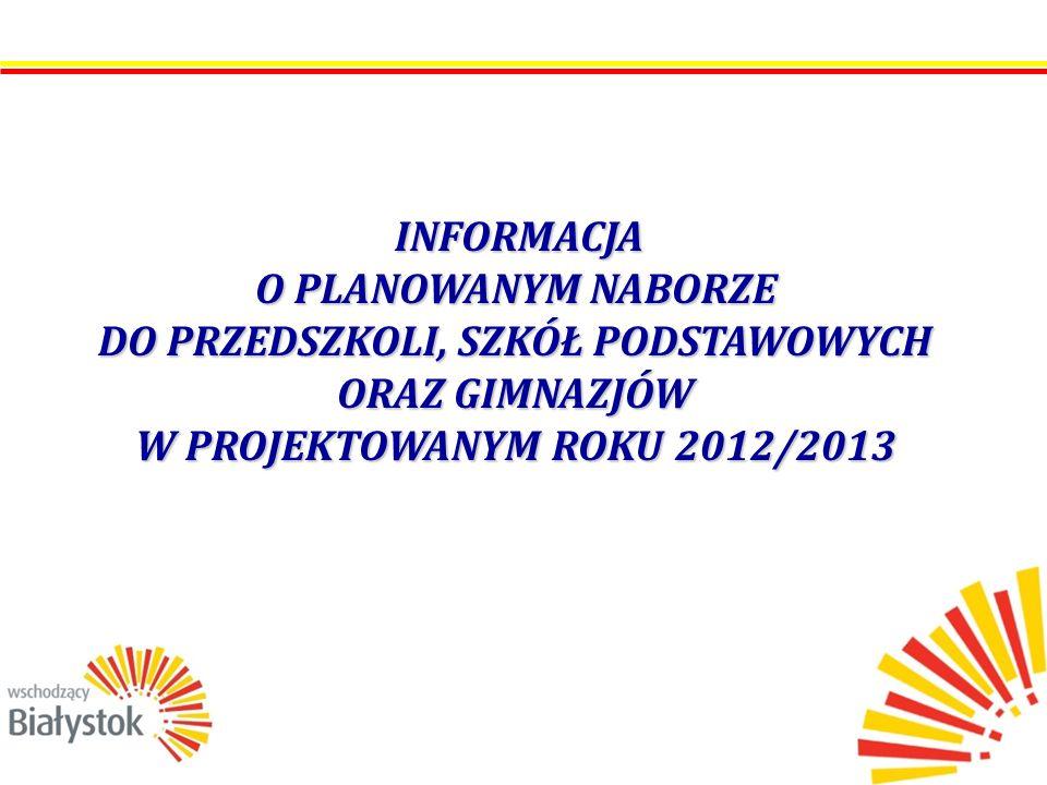 INFORMACJA O PLANOWANYM NABORZE DO PRZEDSZKOLI, SZKÓŁ PODSTAWOWYCH ORAZ GIMNAZJÓW W PROJEKTOWANYM ROKU 2012/2013