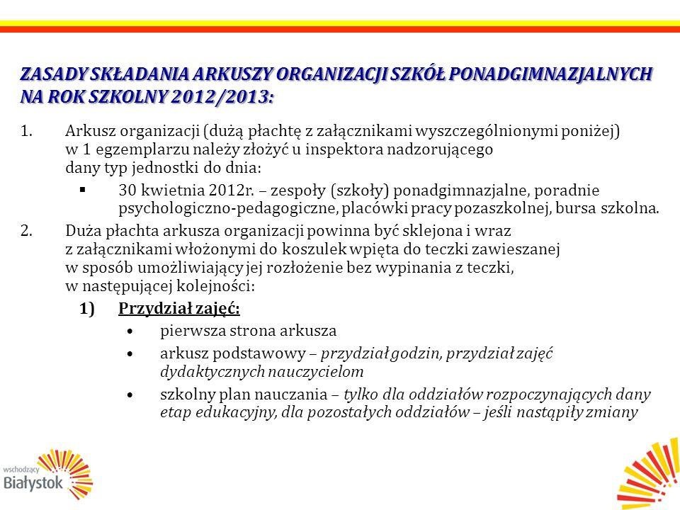 ZASADY SKŁADANIA ARKUSZY ORGANIZACJI SZKÓŁ PONADGIMNAZJALNYCH NA ROK SZKOLNY 2012/2013: 1.Arkusz organizacji (dużą płachtę z załącznikami wyszczególnionymi poniżej) w 1 egzemplarzu należy złożyć u inspektora nadzorującego dany typ jednostki do dnia:  30 kwietnia 2012r.