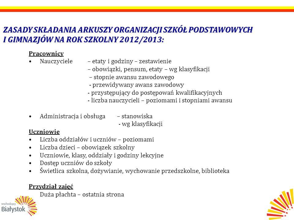 INFORMACJA O PLANOWANYM NABORZE UCZNIÓW DO SZKÓŁ PONADGIMNAZJALNYCH W PROJEKTOWANYM ROKU 2012/2013