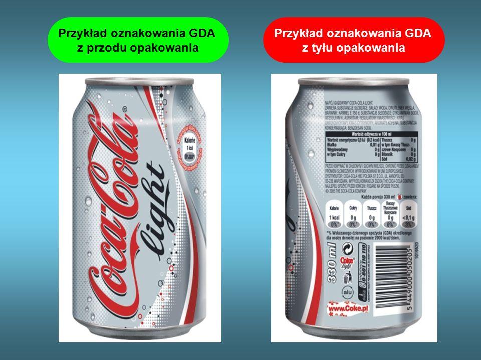 Przykład oznakowania GDA z przodu opakowania Przykład oznakowania GDA z tyłu opakowania