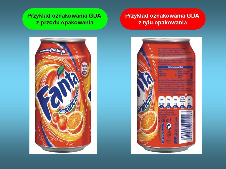 Przykład oznakowania GDA z tyłu opakowania Przykład oznakowania GDA z przodu opakowania