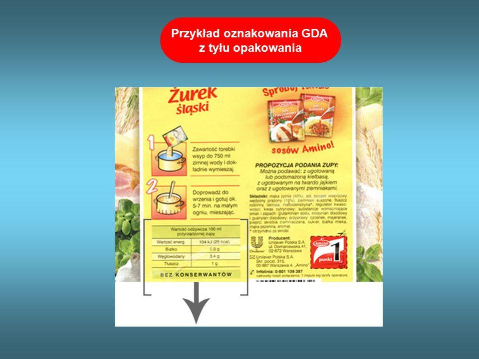 Przykład oznakowania GDA z tyłu opakowania