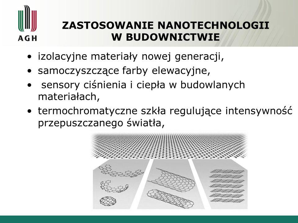 ZASTOSOWANIE NANOTECHNOLOGII W BUDOWNICTWIE izolacyjne materiały nowej generacji, samoczyszczące farby elewacyjne, sensory ciśnienia i ciepła w budowl