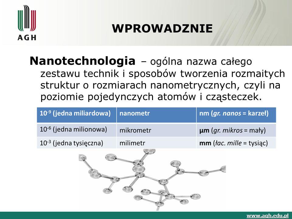WPROWADZNIE Nanotechnologia – ogólna nazwa całego zestawu technik i sposobów tworzenia rozmaitych struktur o rozmiarach nanometrycznych, czyli na pozi