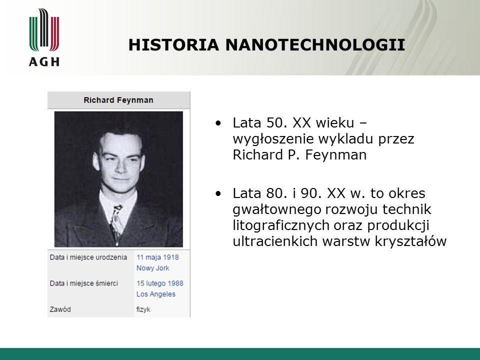 HISTORIA NANOTECHNOLOGII Lata 50. XX wieku – wygłoszenie wykladu przez Richard P. Feynman Lata 80. i 90. XX w. to okres gwałtownego rozwoju technik li