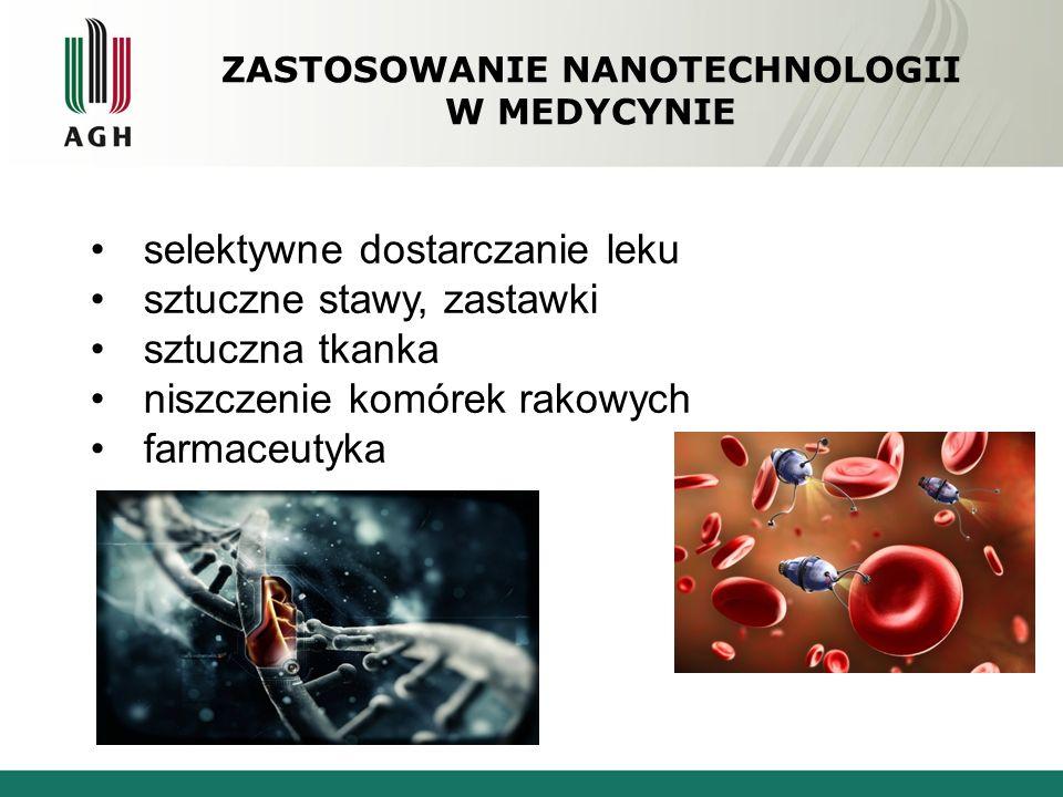 ZASTOSOWANIE NANOTECHNOLOGII W MEDYCYNIE selektywne dostarczanie leku sztuczne stawy, zastawki sztuczna tkanka niszczenie komórek rakowych farmaceutyk