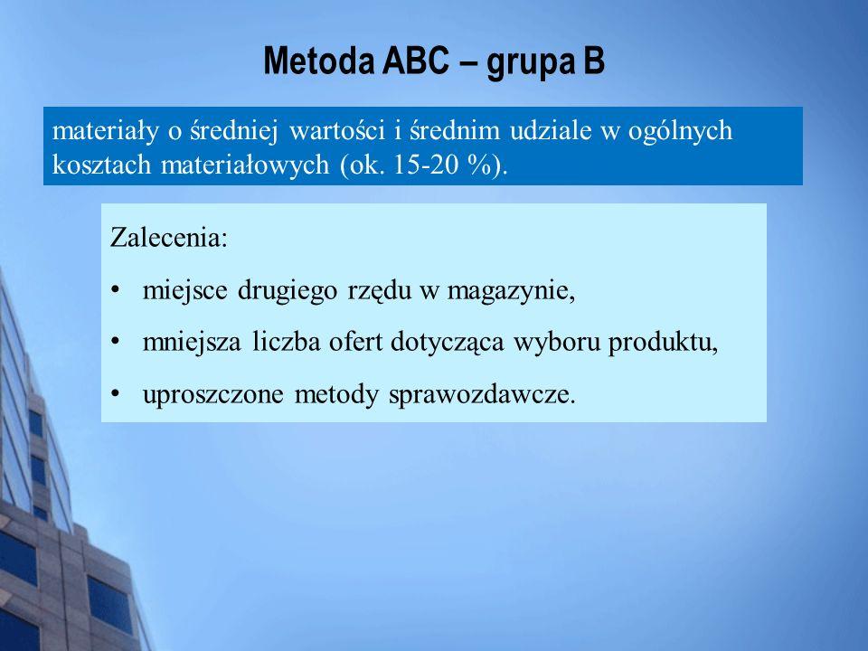 Metoda ABC – grupa B materiały o średniej wartości i średnim udziale w ogólnych kosztach materiałowych (ok. 15-20 %). Zalecenia: miejsce drugiego rzęd
