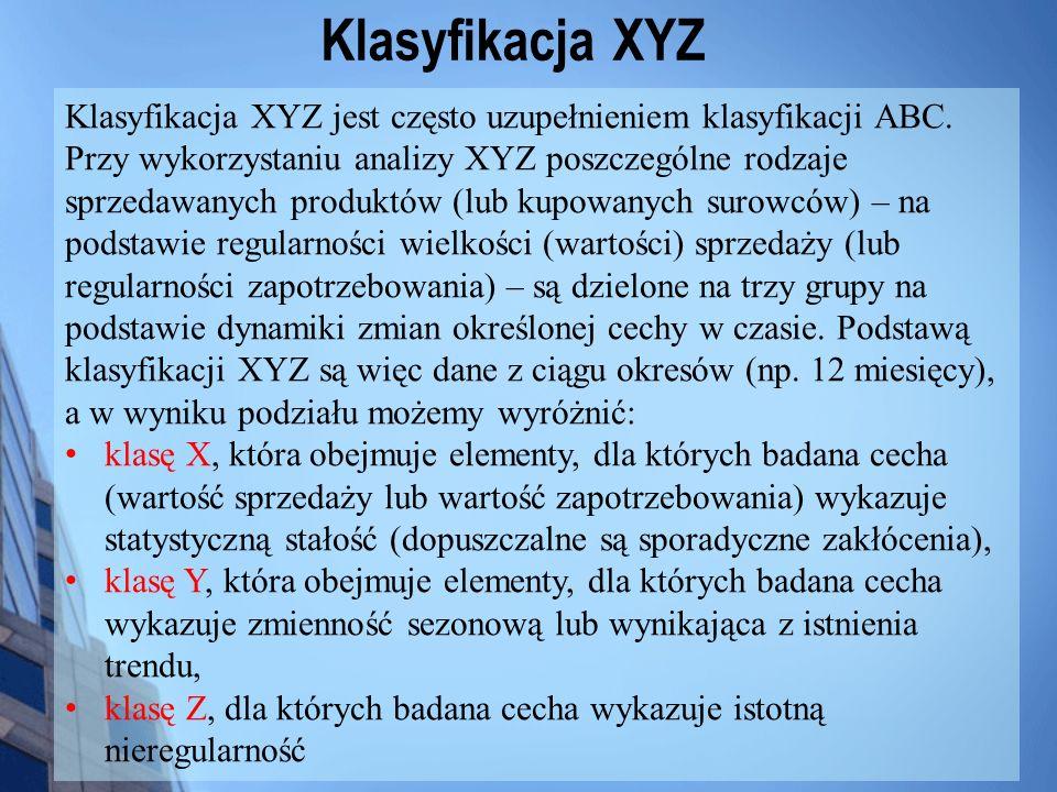 Klasyfikacja XYZ Klasyfikacja XYZ jest często uzupełnieniem klasyfikacji ABC. Przy wykorzystaniu analizy XYZ poszczególne rodzaje sprzedawanych produk
