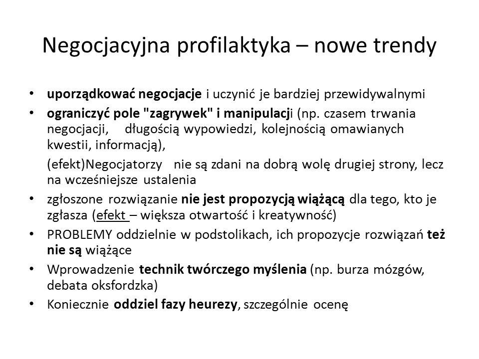 Negocjacyjna profilaktyka – nowe trendy uporządkować negocjacje i uczynić je bardziej przewidywalnymi ograniczyć pole zagrywek i manipulacji (np.