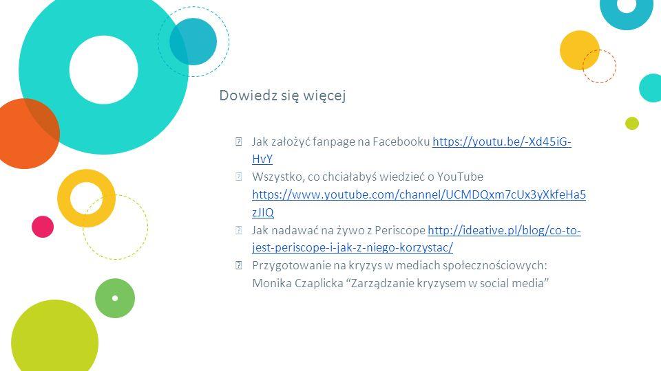 Dowiedz się więcej ◎ Jak założyć fanpage na Facebooku https://youtu.be/-Xd45iG- HvYhttps://youtu.be/-Xd45iG- HvY ◎ Wszystko, co chciałabyś wiedzieć o YouTube https://www.youtube.com/channel/UCMDQxm7cUx3yXkfeHa5 zJIQ https://www.youtube.com/channel/UCMDQxm7cUx3yXkfeHa5 zJIQ ◎ Jak nadawać na żywo z Periscope http://ideative.pl/blog/co-to- jest-periscope-i-jak-z-niego-korzystac/http://ideative.pl/blog/co-to- jest-periscope-i-jak-z-niego-korzystac/ ◎ Przygotowanie na kryzys w mediach społecznościowych: Monika Czaplicka Zarządzanie kryzysem w social media