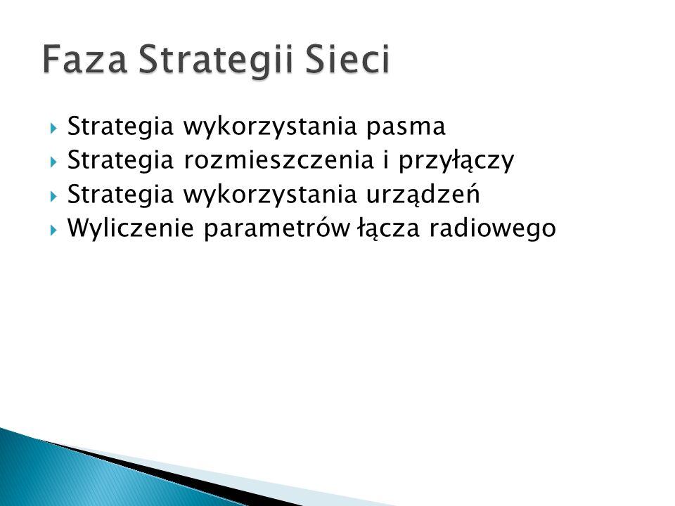  Strategia wykorzystania pasma  Strategia rozmieszczenia i przyłączy  Strategia wykorzystania urządzeń  Wyliczenie parametrów łącza radiowego