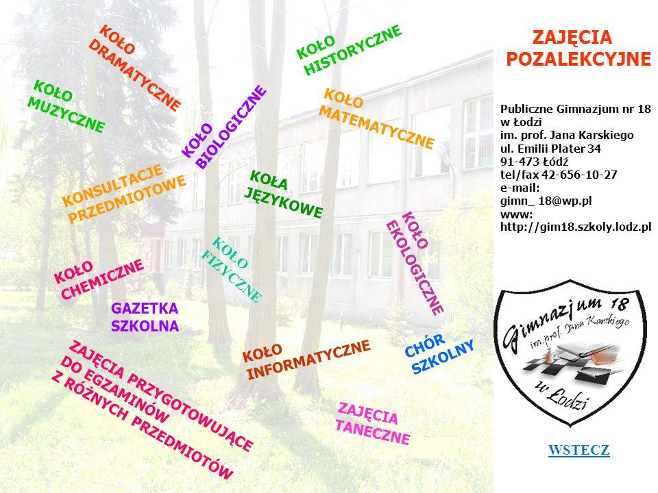 ZAJĘCIA POZALEKCYJNE Publiczne Gimnazjum nr 18 w Łodzi im. prof. Jana Karskiego ul. Emilii Plater 34 91-473 Łódź tel/fax 42-656-10-27 e-mail: gimn_ 18