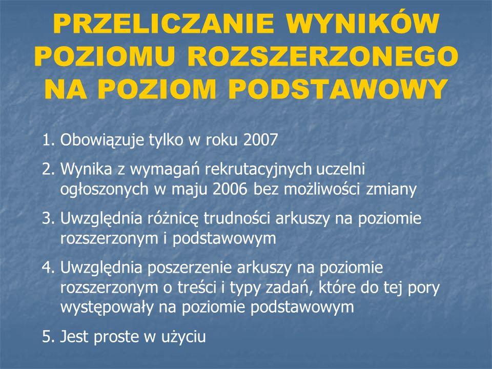 PRZELICZANIE WYNIKÓW POZIOMU ROZSZERZONEGO NA POZIOM PODSTAWOWY 1.Obowiązuje tylko w roku 2007 2.Wynika z wymagań rekrutacyjnych uczelni ogłoszonych w