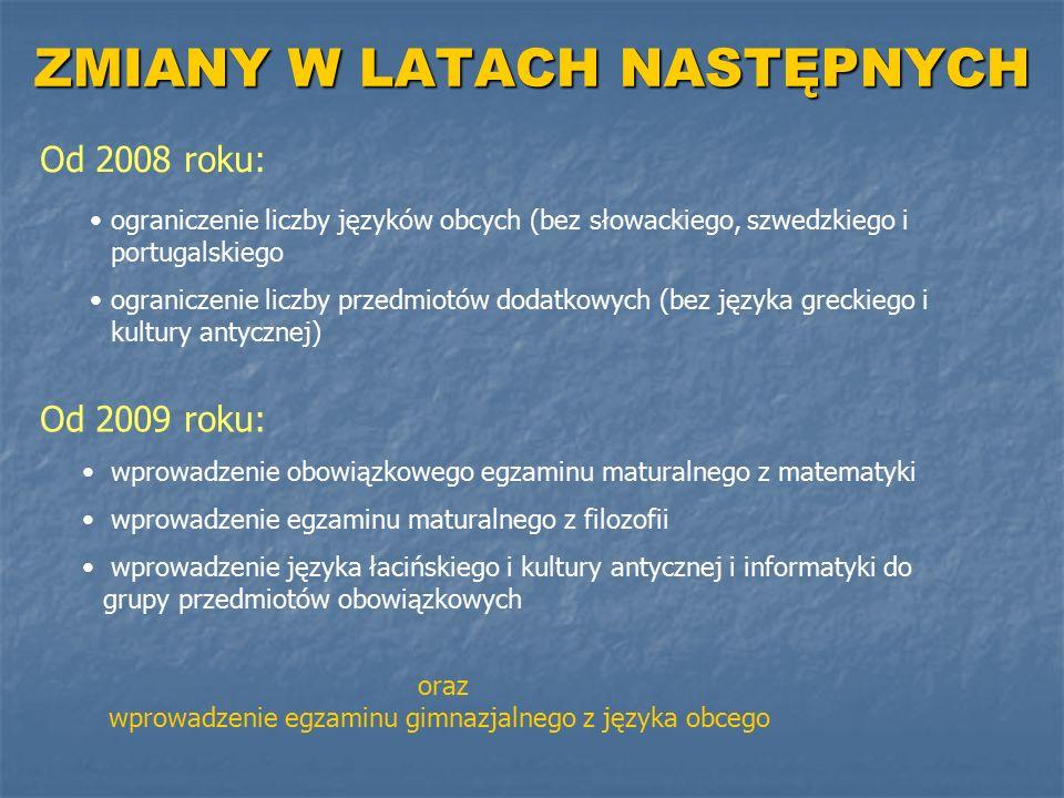 ZMIANY W LATACH NASTĘPNYCH Od 2008 roku: ograniczenie liczby języków obcych (bez słowackiego, szwedzkiego i portugalskiego ograniczenie liczby przedmi