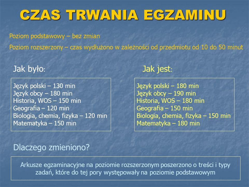CZAS TRWANIA EGZAMINU Jak było : Jak jest : Język polski – 130 min Język obcy – 180 min Historia, WOS – 150 min Geografia – 120 min Biologia, chemia,