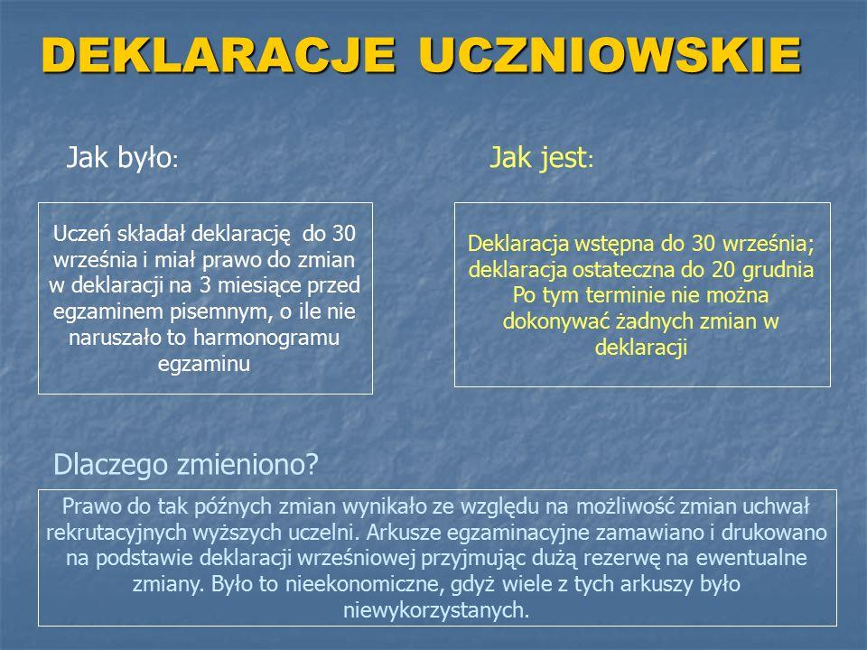 DEKLARACJE UCZNIOWSKIE Jak było : Jak jest : Uczeń składał deklarację do 30 września i miał prawo do zmian w deklaracji na 3 miesiące przed egzaminem