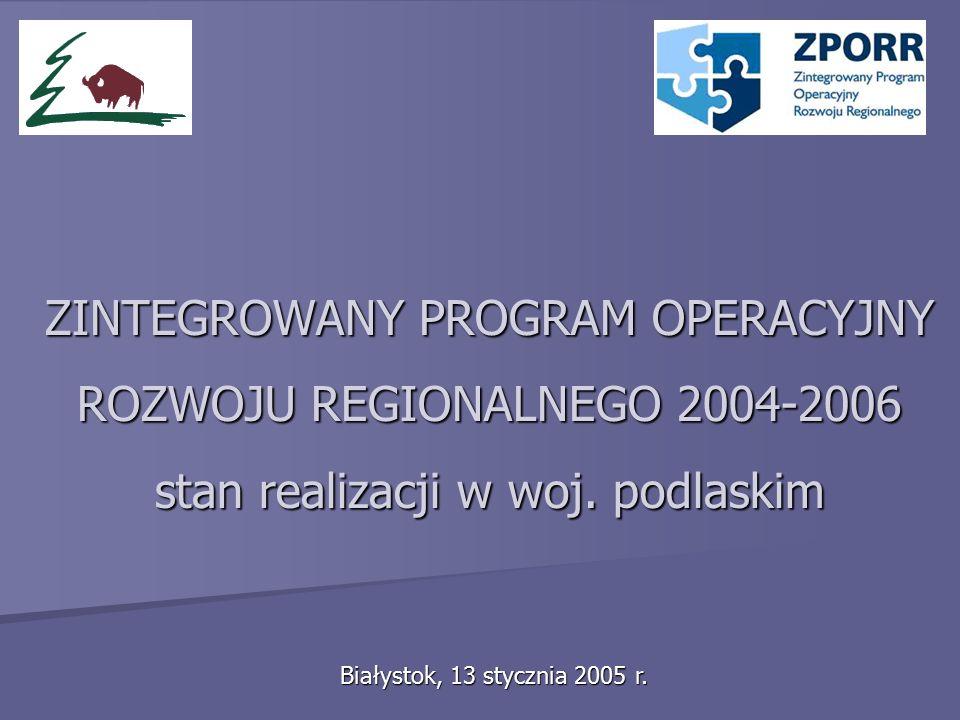 ZINTEGROWANY PROGRAM OPERACYJNY ROZWOJU REGIONALNEGO 2004-2006 stan realizacji w woj.
