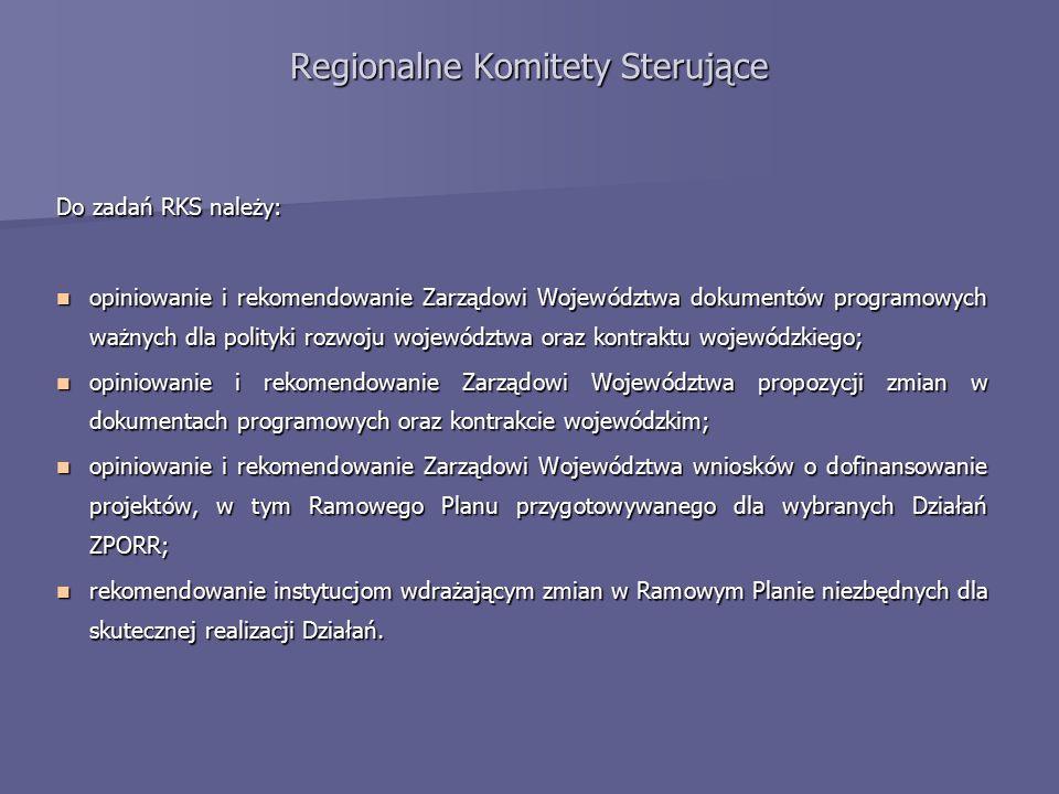 Regionalne Komitety Sterujące Dotychczas odbyło się 6 posiedzeń RKS: Data spotkania Główne ustalenia 16 VI 2004 Podjęcie uchwały w sprawie przyjęcia Ramowych Planów Realizacji Działań: 2.1, 2.2, 2.3, 2.4, 2.5, 2.6, 3.4.