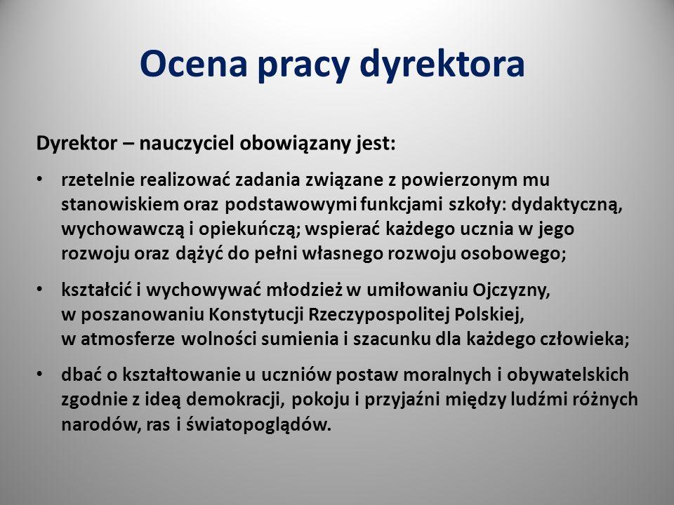 Ocena pracy dyrektora Dyrektor – nauczyciel obowiązany jest: rzetelnie realizować zadania związane z powierzonym mu stanowiskiem oraz podstawowymi funkcjami szkoły: dydaktyczną, wychowawczą i opiekuńczą; wspierać każdego ucznia w jego rozwoju oraz dążyć do pełni własnego rozwoju osobowego; kształcić i wychowywać młodzież w umiłowaniu Ojczyzny, w poszanowaniu Konstytucji Rzeczypospolitej Polskiej, w atmosferze wolności sumienia i szacunku dla każdego człowieka; dbać o kształtowanie u uczniów postaw moralnych i obywatelskich zgodnie z ideą demokracji, pokoju i przyjaźni między ludźmi różnych narodów, ras i światopoglądów.