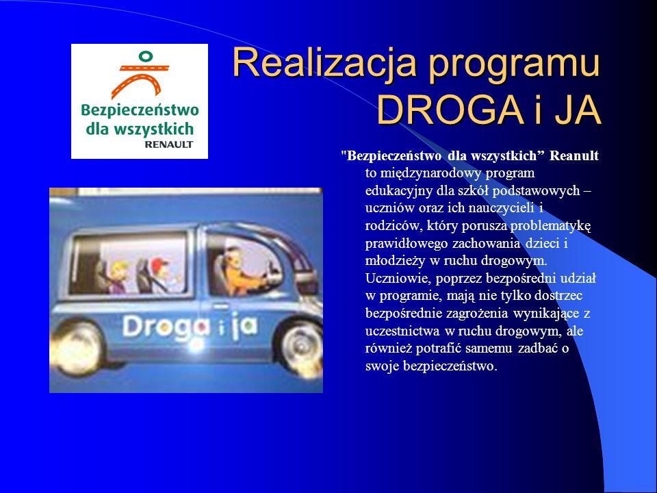 Realizacja programu DROGA i JA Bezpieczeństwo dla wszystkich Reanult to międzynarodowy program edukacyjny dla szkół podstawowych – uczniów oraz ich nauczycieli i rodziców, który porusza problematykę prawidłowego zachowania dzieci i młodzieży w ruchu drogowym.