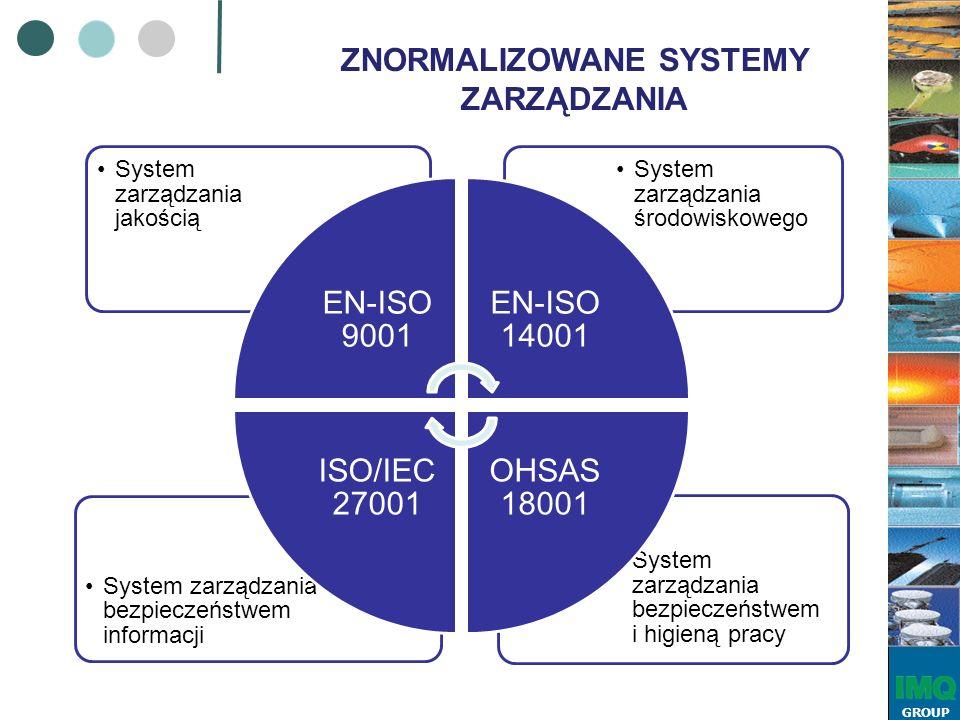 GROUP System zarządzania bezpieczeństwem i higieną pracy System zarządzania bezpieczeństwem informacji System zarządzania środowiskowego System zarządzania jakością EN-ISO 9001 EN-ISO 14001 OHSAS 18001 ISO/IEC 27001 ZNORMALIZOWANE SYSTEMY ZARZĄDZANIA