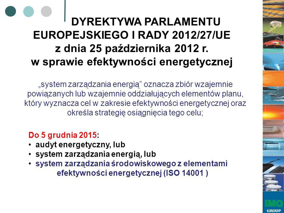 """GROUP """"system zarządzania energią oznacza zbiór wzajemnie powiązanych lub wzajemnie oddziałujących elementów planu, który wyznacza cel w zakresie efektywności energetycznej oraz określa strategię osiągnięcia tego celu; DYREKTYWA PARLAMENTU EUROPEJSKIEGO I RADY 2012/27/UE z dnia 25 października 2012 r."""